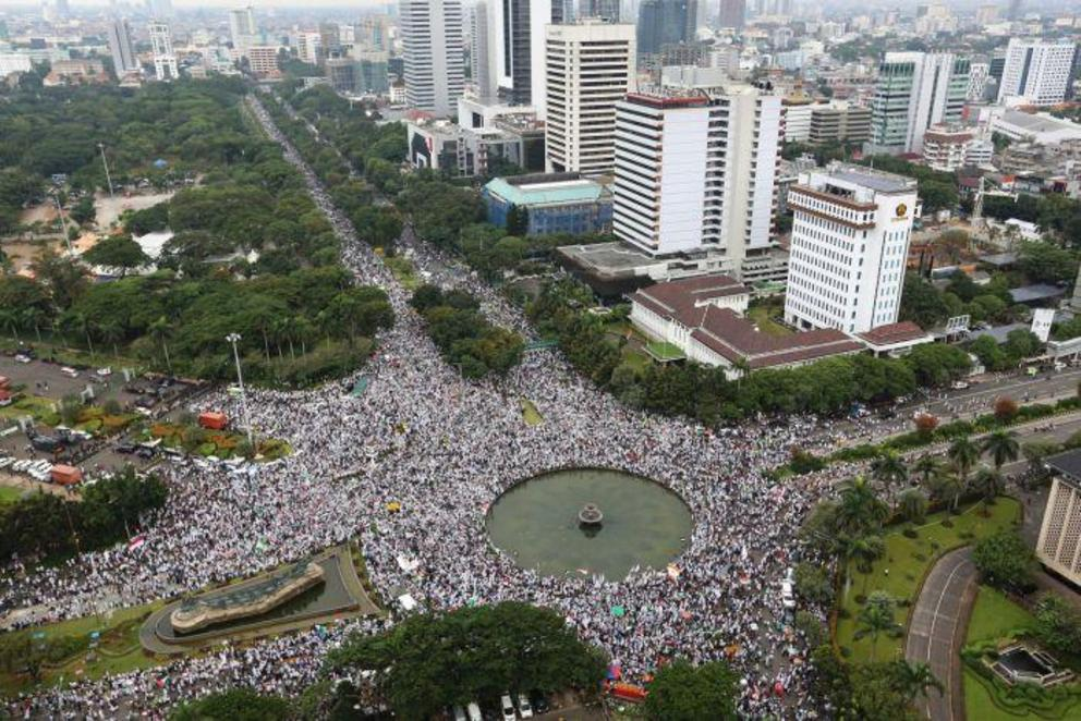 150,000 protesters gathered to protest against the former governor of Jakarta, known as Ahok